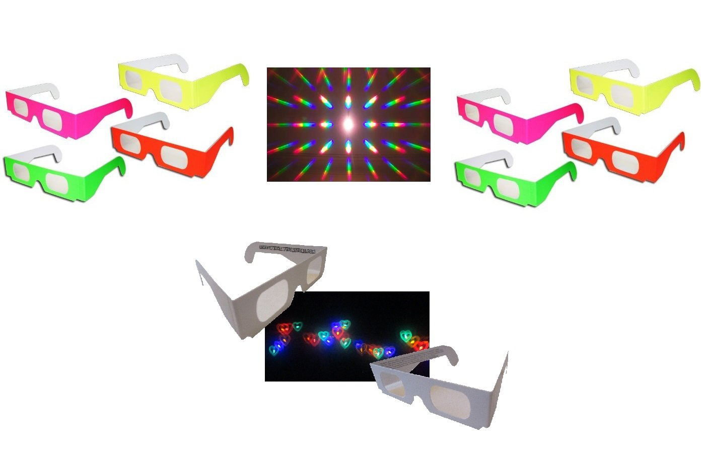 Rob's Super Happy Fun Store 10 Pair Fireworks Diffraction Glasses (8 Standard Diffraction Glasses + 2 Rainbow Hearts Diffraction Glasses)