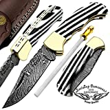 Beautiful Black & White Long Lines 6.5″ 100% Custom Handmade Damascus Steel Folding Pocket Knife Brass Bloster with Back Lock Prime Quality For Sale