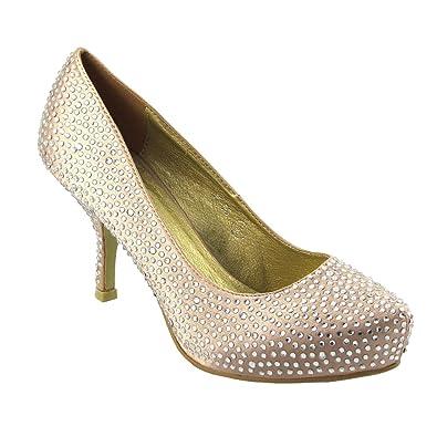53ecdfceb71 ESSEX GLAM Ladies Satin Diamante Womens Kitten MID Platform Bridal Wedding  Prom Party Shoes Size 3
