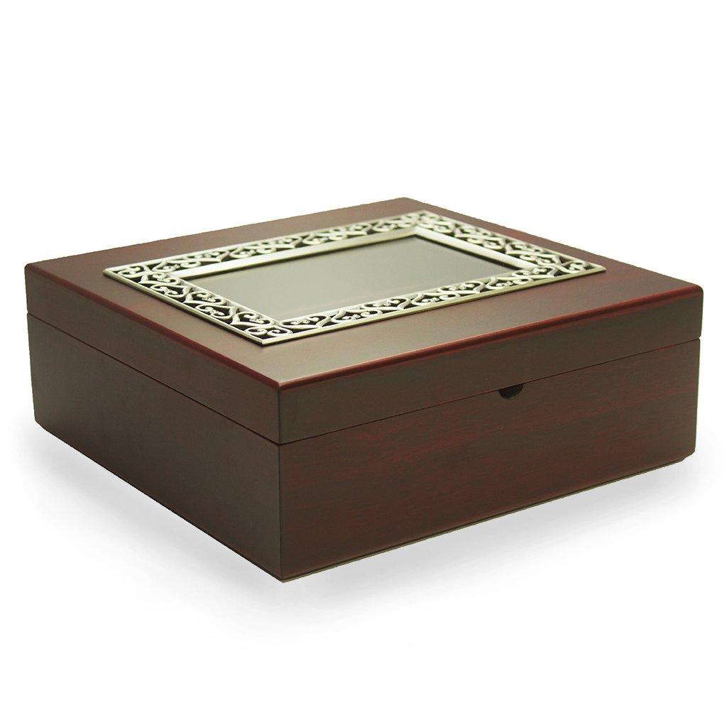 Large Wooden Tea Storage Box - Tea Box Sampler, 50 Tazo Tea Bags, 10 Assorted Flavors (Pewter Frame)