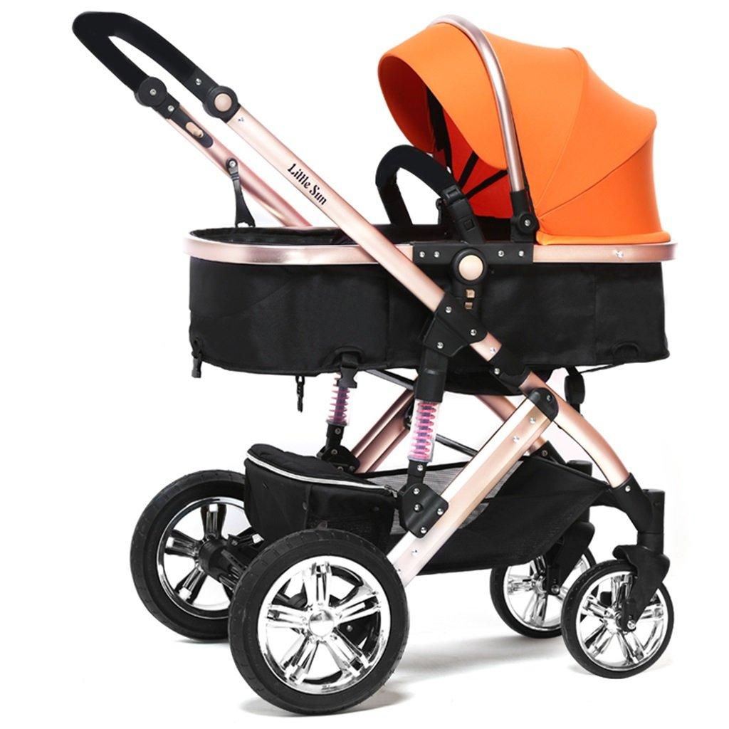 HAIZHEN マウンテンバイク 赤ちゃんキャリッジ青/オレンジ/ピンク/紫/赤座る/軽い折り畳み式トロリーショックアブソーバ調整サンシェード日よけ保護アンチUVオックスフォード布赤ちゃんキャリッジ 新生児 B07DLC5PJM オレンジ オレンジ