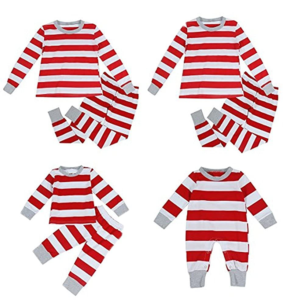 Charm Kingdom Family Christmas Stripe Pyjamas Cotton Pajamas Sleepwear Sets