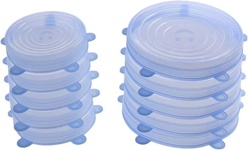 77L Silicone Stretch Lids, [Set of 10], 2 Different Size Reusable Silicone Stretch Lids, Sealed Durable Food Storage Covers Suit for Most Plate, Bowl, Dishes, Pans, Keep Food Fresh (Blue)