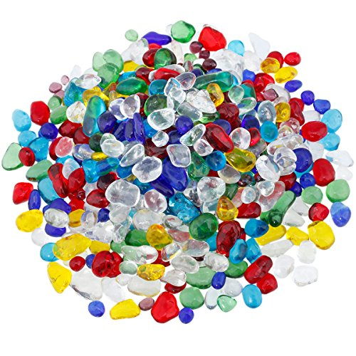 SUNYIK Lampwork Glass Tumbled Chips Crystal Crushed Pieces Irregular Shaped 1pound(about 460 (Sea Glass Pieces)