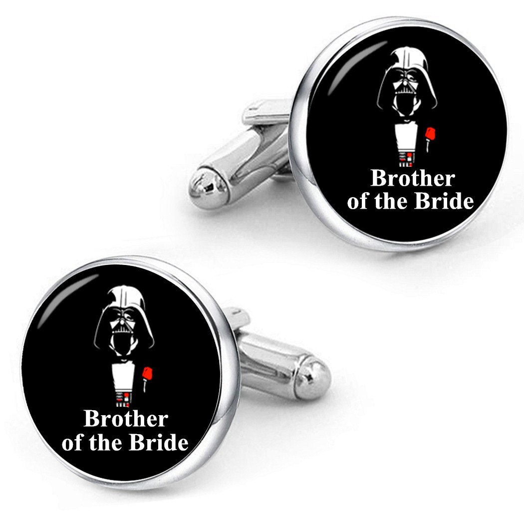 Kooer Brother Of The Bride Cufflinks For Star Style Custom Personalized Wedding Jewelry Gift (Brother of the bride)