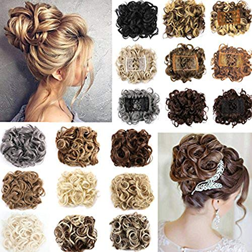 OMG Short Curly Messy Hair Bun Extensions Updo Hairpiece Chignons Hair Piece Easy Stretch Hair Combs Clip in Ponytail Extensions Scrunchie Scrunchy