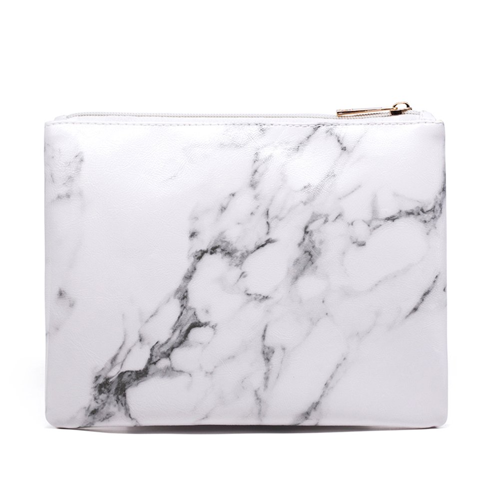 Marble Cosmetic Bag Makeup Brushes Organizer Bag Portable Cosmetic Pouch Travel PU Handbag with Gold Zipper Pencil Storage Case for Women Purse,White (8.7''x6.5'')