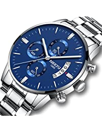 Mens Watches Chronograph Waterproof Military Quartz Luxury Wristwatches For Men Stainless Steel Band Blue Color