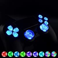 eXtremeRate Multi-colors Luminated D-pad Thumbsticks Face Buttons (DTF) LED Kit for PS4 Controller 7 Colors 9 Modes Touch Control with Buttons