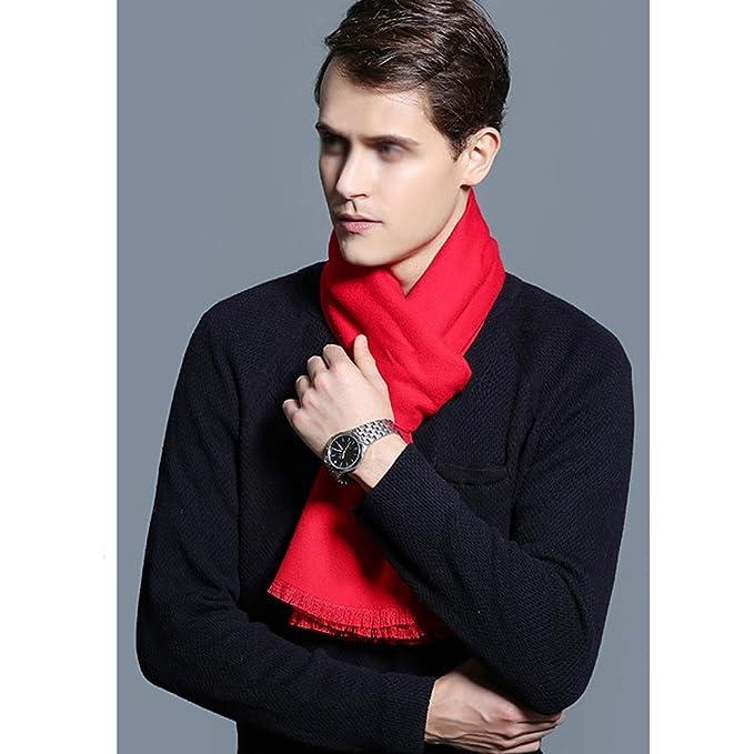 GHJSF Bufanda para Hombre Pañuelo Rojo de la Piel de Usar Envuelta ...