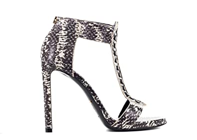 16703d2c61 Image Unavailable. Image not available for. Color: ROBERTO CAVALLI Womens  Snake Skin T Strap Heeled ...