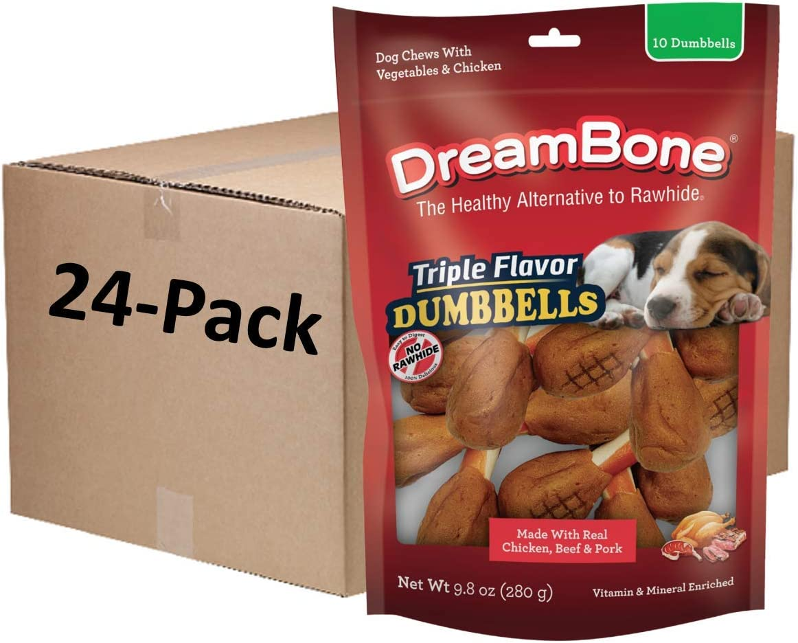 DreamBone Triple Flavor Dumbbells with Chicken 10 Count, Rawhide-Free Chews for Dogs