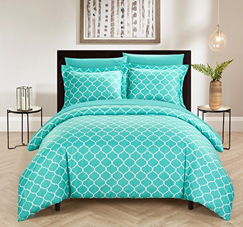Chic Home Brooklyn 2 Piece Reversible Duvet Cover Set Geometric Diamond Fretwork Pattern Print Zipper Closure Bedding - Decorative Pillow Sham Included, Twin Turquoise