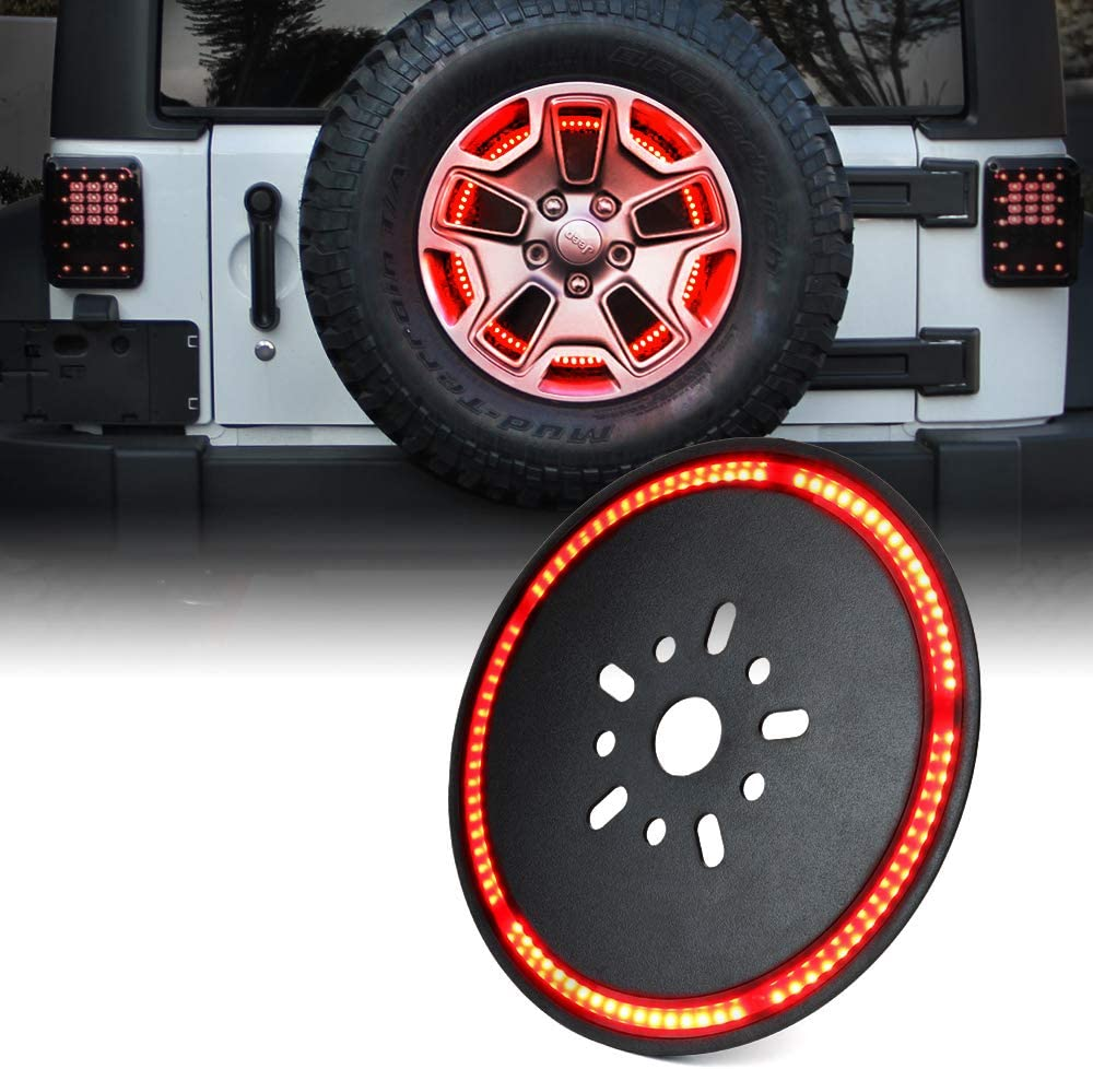 "Xprite 14"" Spare Tire Brake Light for 2007-2018 Jeep Wrangler JK, Third LED Rear Wheel Lights Third Tail Lamp"