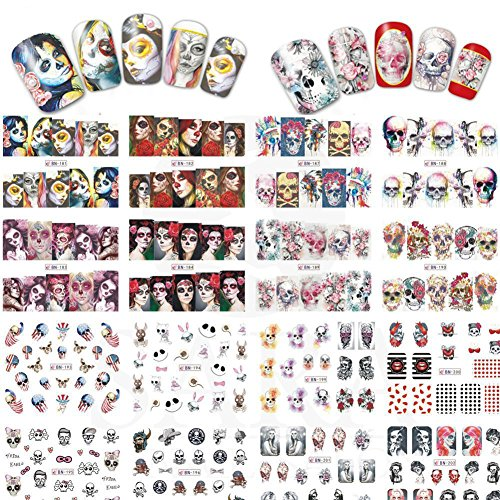 (Holrea 24Pcs Halloween Nail Art Cartoon Skull Charming Nail Stickers Self-adhesive Nail Tip Art Water Transfers Decal Sticker Manicure DIY)
