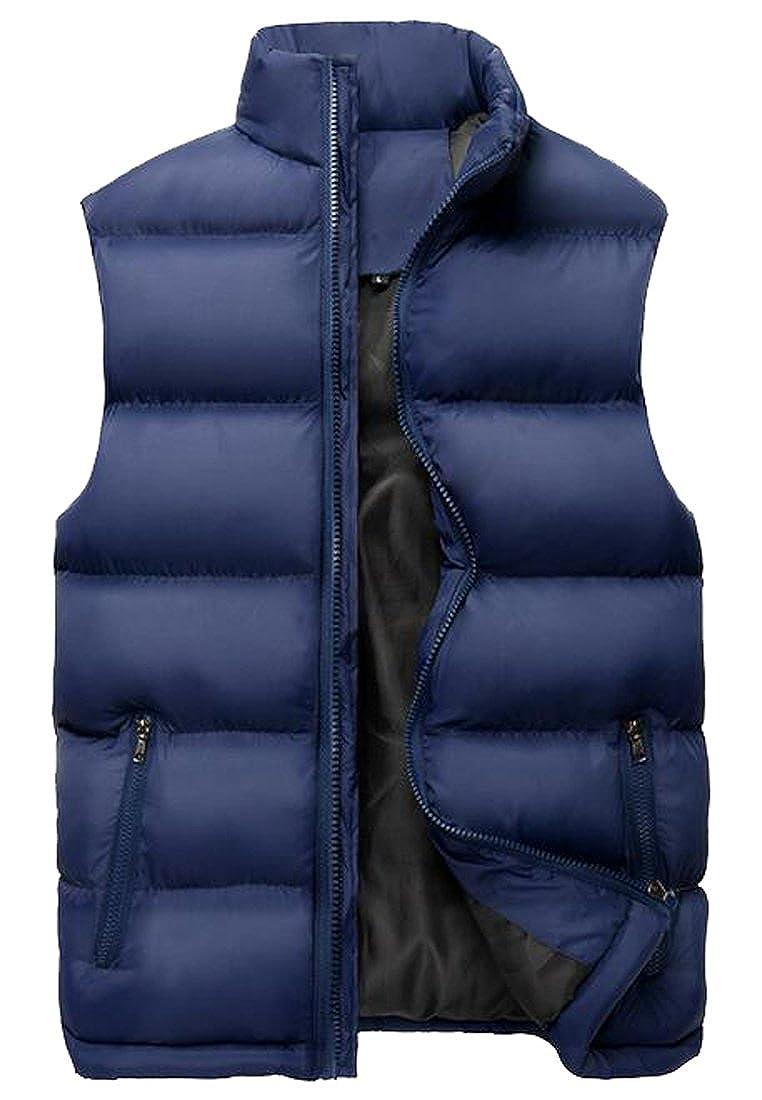 LD Mens Winter Sleeveless Stand Collar Down Puffer Vest Outdoor Jackets