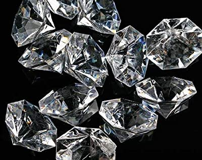 Pkg of 24 Clear 25 Carat Acrylic Diamonds with Super Big Bling - Vase Fillers or Wedding Bridal Shower Party Table Confetti Decorations