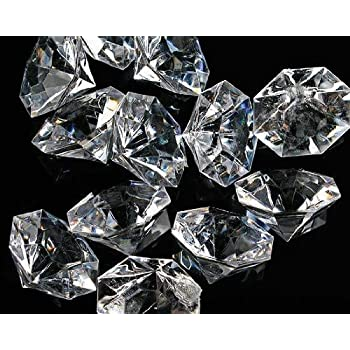 pkg of 24 clear 25 carat acrylic diamonds with super big bling vase fillers or