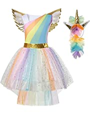 747d63ee2c8 Girls Kids Unicorn Fancy Dress Costume Princess Dressing Up Outfit Rainbow  Tutu with Headband and Wing