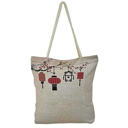 iPrint Handbag Cotton and Linen Shoulder Bag Modern Stylish,Lantern,Vintage  Japanese Style Chinese ff42c0a4f3