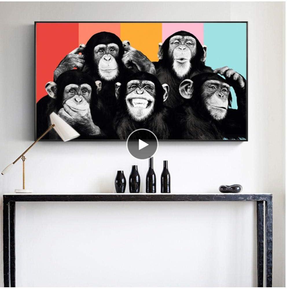 WJBKY Baby Zimmer Poster und Drucke Lustige Affen Tiere Wandkunst Leinwand Malerei Kinderzimmer Bild Kinderzimmer Moderne Wohnkultur @ 40x80cm