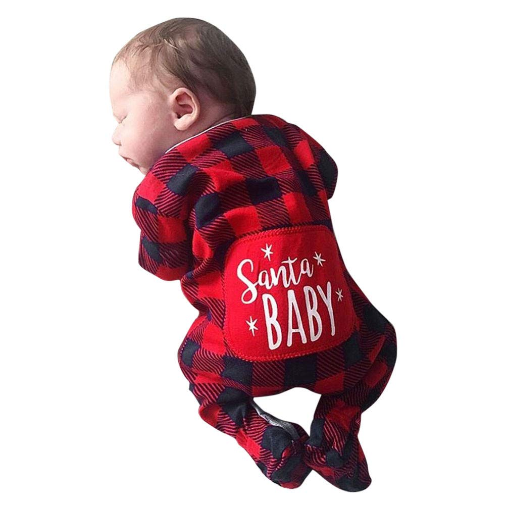 POIUDE Clearance Boy Clothes Baby Boy Girl Long Sleeve Christmas Letter Print Plaid Jumpsuit Outfits POIUDE-baby clothes
