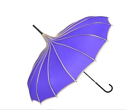 Sucastle Paraguas, paraguas UV, retro, estilo de la corte, color sólido,