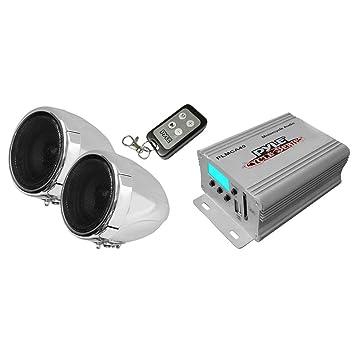 Pyle PLMCA40 - Sistema de altavoces y amplificador para motocicleta, 150W