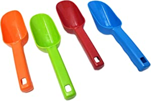 Small Plastic Scoops Spoon Multi Purpose use for Home, Kitchen, and Garden   Hand Grip Scooper for Ice, Flour, Oatmeal, Soil, Birdfeed, Pet food, Litter Boxes HEAVY DUTY   Assorted Colors (4 Pack)