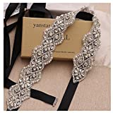 Yanstar Wedding Bridal Belts In Silver Rhinestone Crystal Pearl With Black Sash For Wedding Dress Prom Gown-17.7In1.6