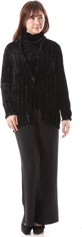 SPECCHIO PLEATS Black Velour Stretch Shibori Long Jacket One Size XS S M L XL 1X
