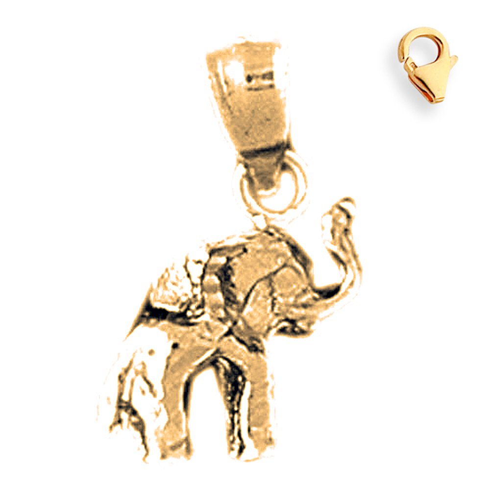 Silver Yellow Plated 3-D Elephant Charm 17mm
