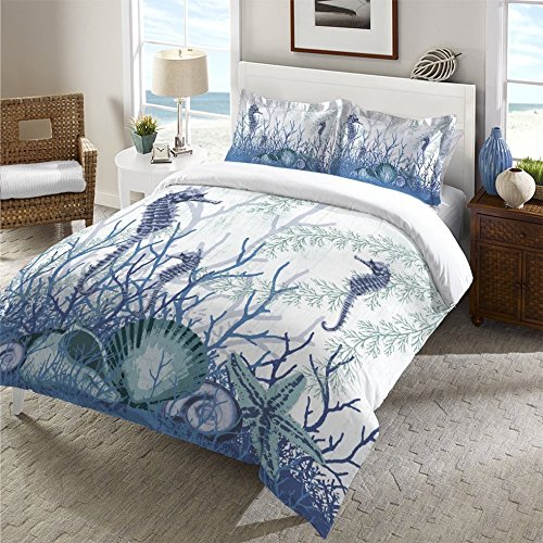 1 Piece Underwater Sea Life Motif Duvet Cover Queen Size, Featuring Aquatic Seahorse Starfish Seashells Coral Reef Themed Comfortable Bedding, Bold Coastal Nautical Animals Nature Design, Blue, White