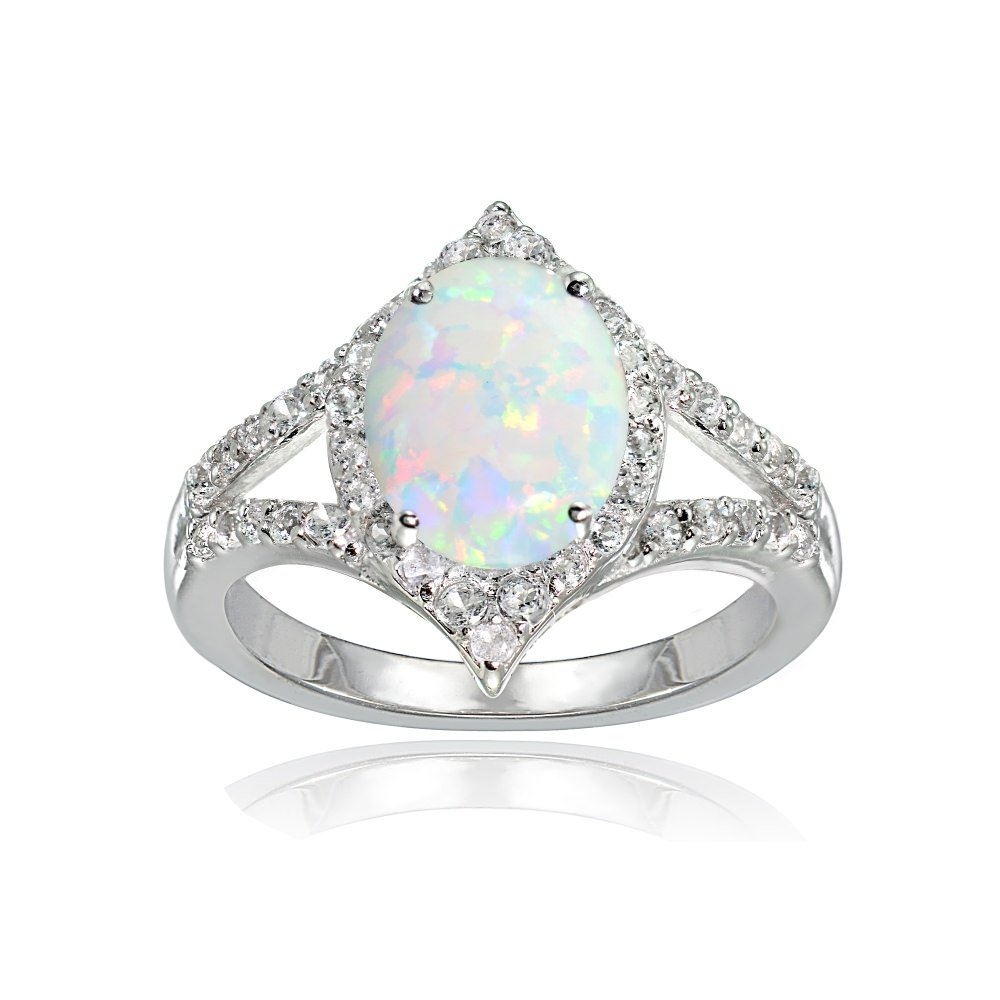 LOVVE Sterling Silver Simulated White Opal & White Topaz Oval Fashion Split Shank Ring, Size 8