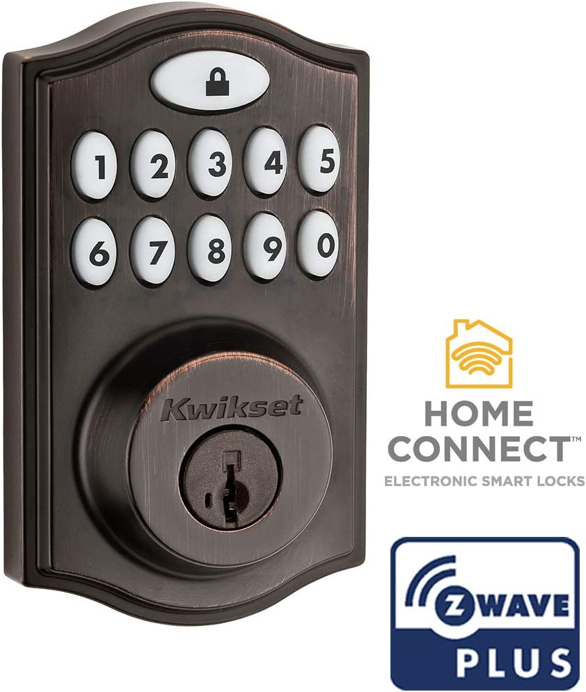Kwikset 99140-024 SmartCode 914 Traditional Smart Lock Keypad Electronic Deadbolt Door Lock with SmartKey Security and Z-Wave Plus, Venetian Bronze