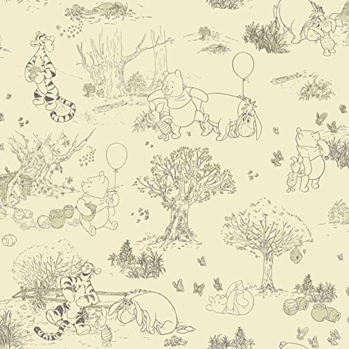 (York Wallcoverings Disney Kids III Pooh & Friends Toile Removable Wallpaper, Beige)