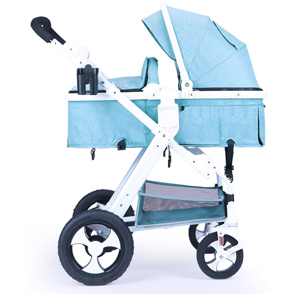 Amazon.com: Baby Stroller Baby Cart High Landscape Can Sit Can Lay Four Rubber Wheels Newborns Shock Absorption Baby Carriage with Skylights (Color : Flax ...