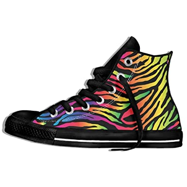 a8bbedf7f39917 Unisex Rainbow Zebra Stripe Print Casual High-top Canvas Shoes Fashion  Sneaker Lace Ups For