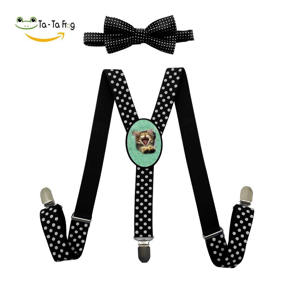 Xiacai Angry Cat Suspender/&Bow Tie Set Adjustable Clip-On Y-Suspender Boys
