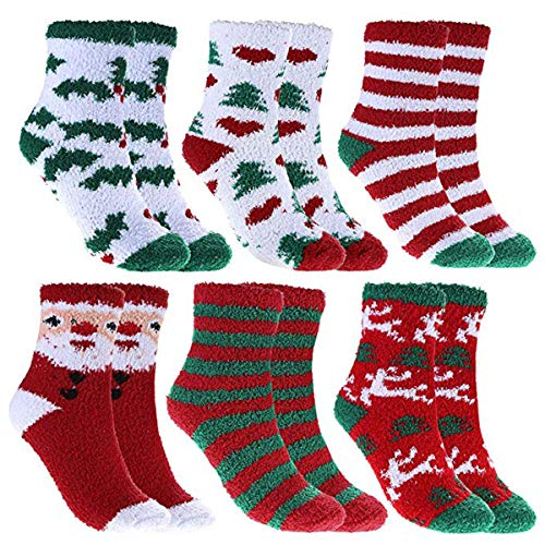 Women Christmas Fuzzy Socks, Fluffy Socks,Winter Warm Cozy Striped Socks, Crew Socks,Adult Home Slipper Socks,6 Pairs
