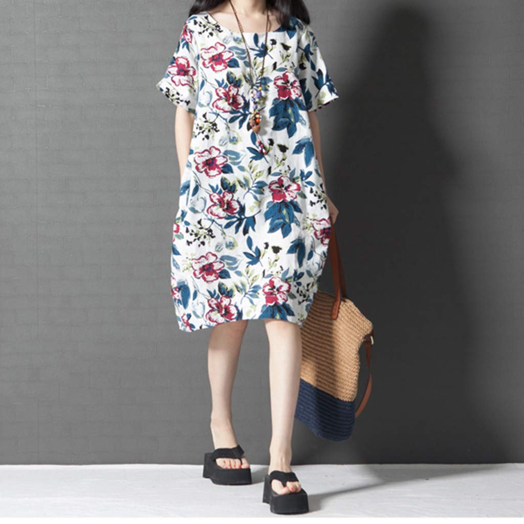 PASATO M-5XL Plus Size Women's Casual Short Sleeve O-Neck Floral Print Cotton Dress With Pockets T-Shirt Dress(White,M=US:S) by PASATO Dress (Image #4)