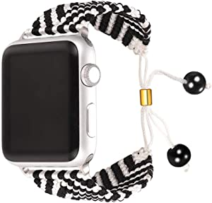 Bandmax White&Black Compatible Nylon Apple Watch Bands 38MM/40MM,iWatch Series 5/4/3/2/1 Wristband Accessories Sport Straps Handmade Braided Weave Rope Bracelet with Upgrade Metal Drawstring Clasp