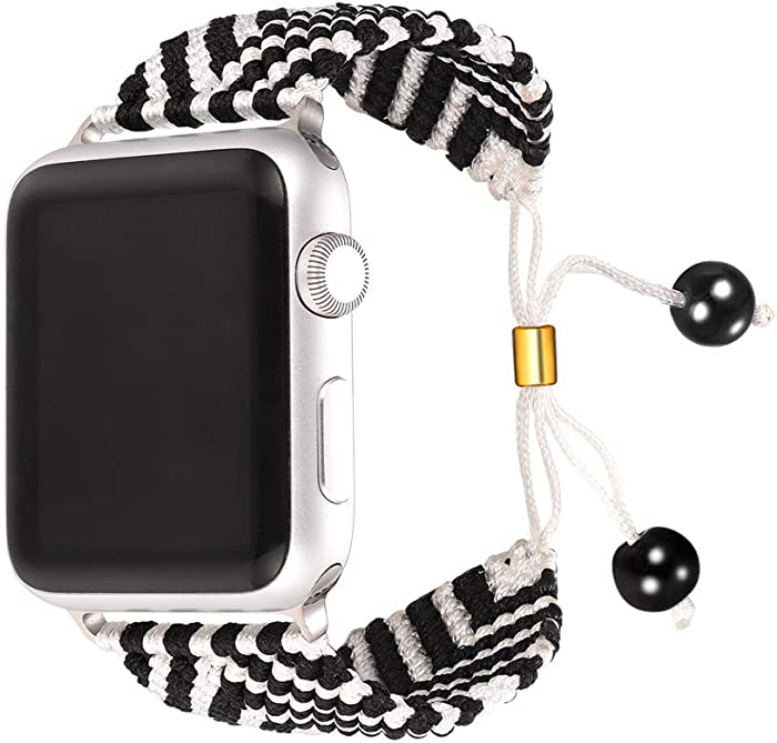 Bandmax White&Black Compatible Nylon Apple Watch Bands 42MM/44MM,iWatch Series 5/4/3/2/1 Wristband Accessories Sport Straps Handmade Braided Weave Rope Bracelet with Upgrade Metal Drawstring Clasp