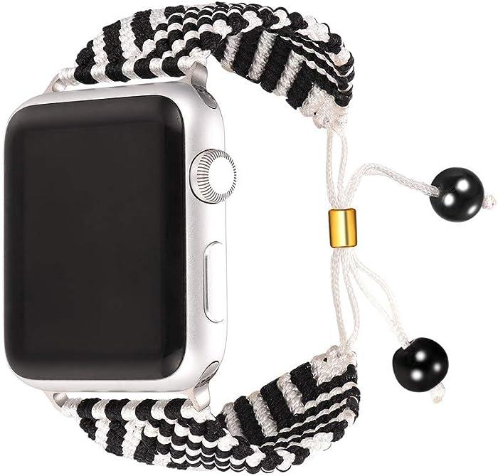 Top 10 Apple 42Mm Black Stripe Woven Nylon