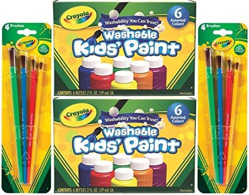 Crayola Washable Kids Paint, 6 Assorted Colors, 2 Oz Each (Pack of 2) Total 12 Bottles + Bonus 8 Crayola Paint Brushes