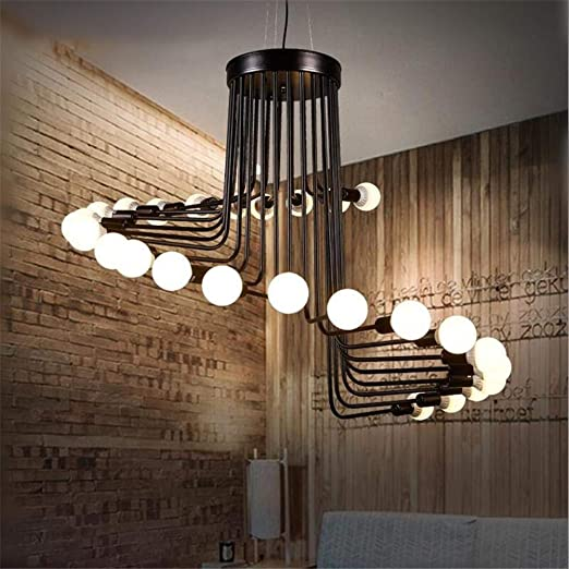 Retro simple lámpara colgante Loft 26 cabezas escalera de caracol negro hierro forjado gran techo iluminación E27 Fixture diámetro 41,3 pulgadas para bar café sala de estar pasillo dormitorio: Amazon.es: Hogar