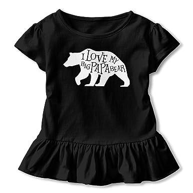 cb83f535 Amazon.com: I Love My Big Papa Bear Children's Girls Short Sleeve ...