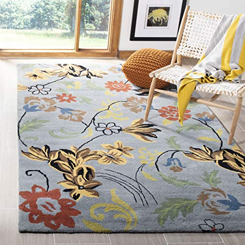 Safavieh Soho Collection SOH736B Handmade Blue and Multi Premium Wool Area Rug 5 x 8