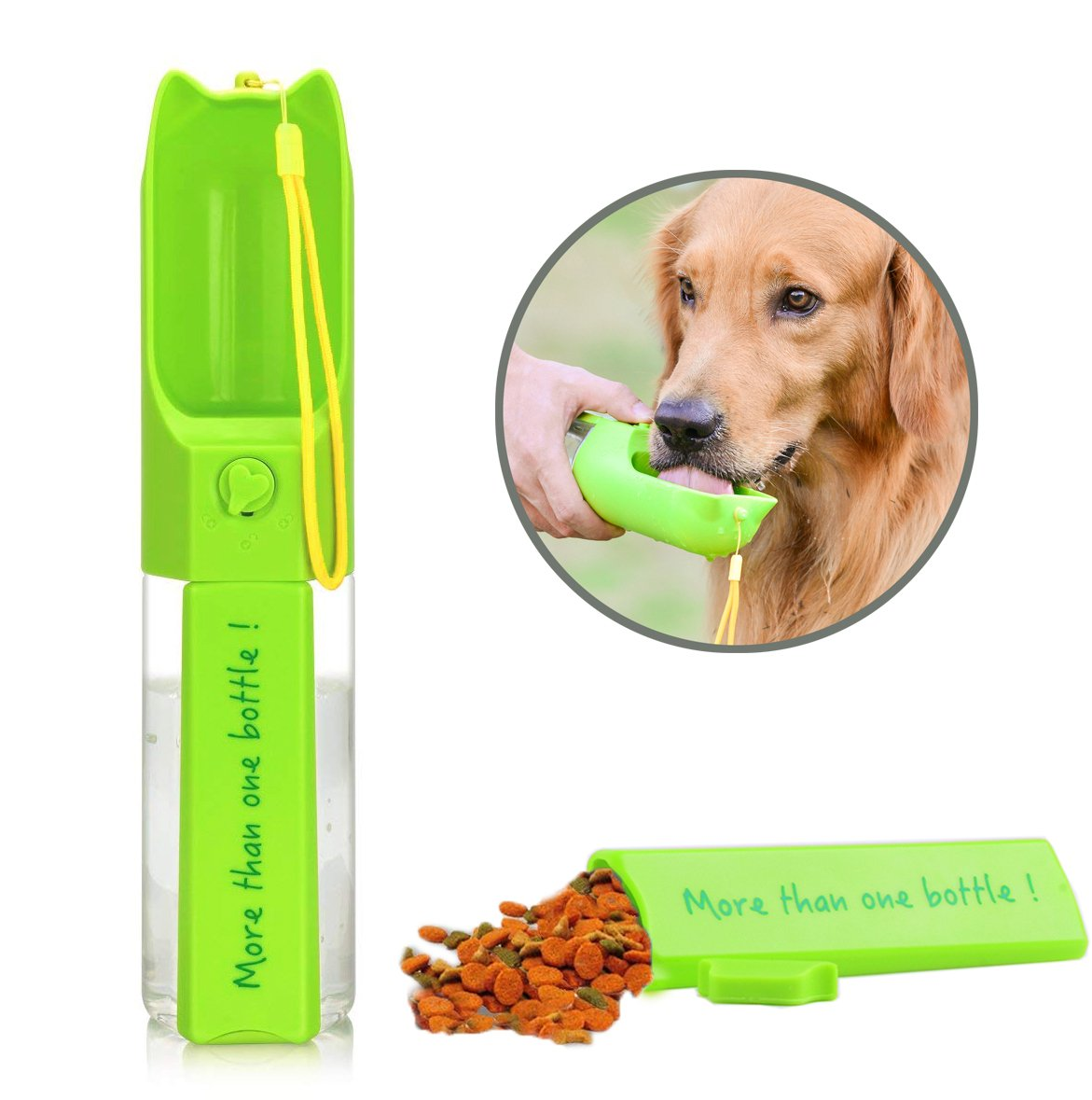 Petmii Dog Water Bottle, Leak Proof Portable Puppy Water Dispenser with Drinking Feeder for Pets Outdoor Walking, Hiking,Travel and on the Go, Antibacterial Food Grade Plastic BPA Free, (Green)