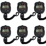 Pgzsy 6 Pack Multi-Function Electronic Digital Sport Stopwatch Timer, Large Display with Date Time and Alarm Function,Suitabl